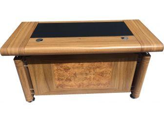 1861 1.4m Light Oak Executive Office desk with drawer pedestal