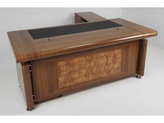 1861 2.0 m Light Oak Executive Office desk with drawer pedestal and Return