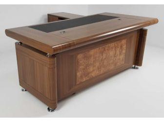 1861 1.8m Large Light Oak Executive Office desk with drawer pedestal and Return