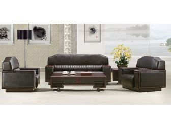 Black Leather Executive Sofa and Armchair Set P2MS0E