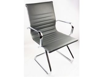 Grey Leather Eames Style Executive Cantilever Visitor Chair - HB-E13