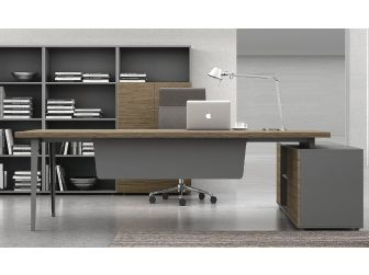 Light Walnut with Grey Executive Office Desk - DES-B05U