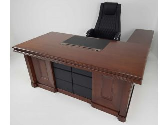 Quality Light Walnut Real Wood Veneer Executive Desk with Leather HSN-2018