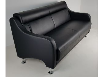 Contemporary Black Leather Three Seater Sofa - F082S