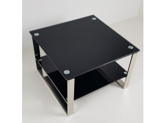 Double Shelf Black Glass Coffee Table - JDBLG-2