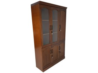 Real Wood Veneer Three Door Executive Bookcase - 1861A-3DR