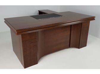 Stylish Light Walnut Real Wood Veneer Executive Desk - 2019-1800mm