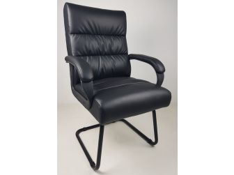 Soft Padded Visitor Office Chair in Black - CHA-K35-2