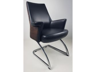 Black Leather and Walnut Leather Visitor Office Chair - FZ6C10A