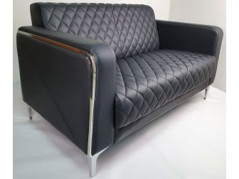 Modern Black Leather Executive Sofa Set - F112
