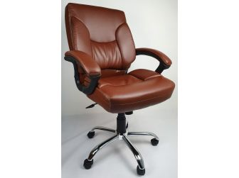 Medium Back Brown Leather Office Chair - HF459-1