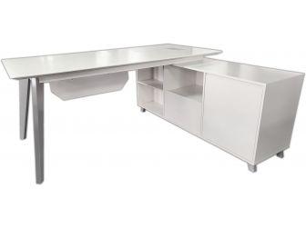 Executive Office Corner Desk 1.8m In Satin White BG-9818