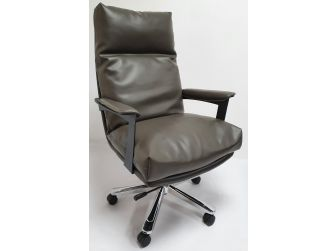 Grey Leather Soft Padded Executive Office Chair - HB-210