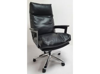 Black Leather Soft Padded Executive Office Chair - HB-210