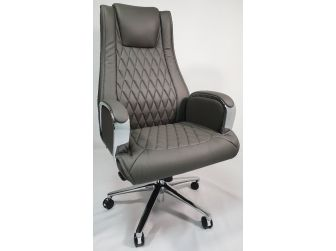 Grey Leather Executive Office Chair - CHA-1202A