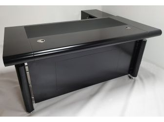Black Executive Office Desk with Pedestal and Return - 1861-BLK