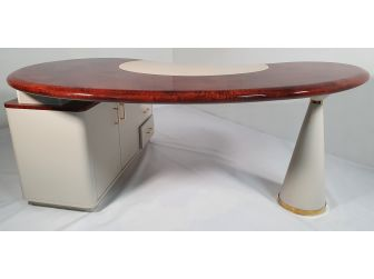 Unique Walnut Gloss and Light Ivory Office Desk - HAU-REC