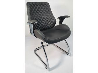 Grey Leather Executive Visitors Chair - J1107C