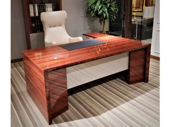 Luxury Office Desk In High Gloss Lacquered Mahogany Veneer With Grey Accents DES-0950