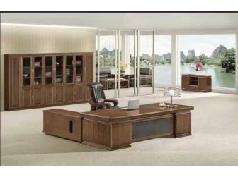 Large Walnut  Executive Office Desk Real Wood Veneer With Black Leather DSK-3P241 2.4m