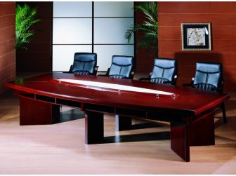 Mahogany 4.8m Boardroom Table with Storage Shelf