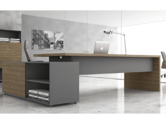 Light Walnut with Grey Executive Office Desk - DES-B06U
