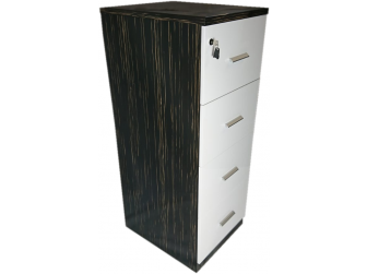 Senato 6852-4D-FIL-WH Real Wood Veneer and White Gloss Filing Cabinet
