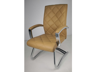 Quilted Beige Leather Stylish Cantilever Visitors Chair - ZV-B217