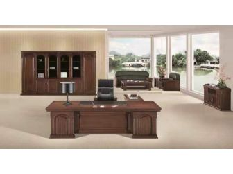 Large Dark Walnut Executive Office Desk Real Wood Veneer DSK-7G241 2.4m