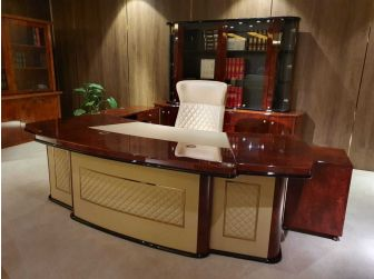 Luxury Executive Desk Gloss Walnut with Cream Leather 2600mm GRA-G8028