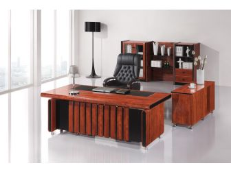Quality 2.0m Mahogany Executive Office Desk With Leather Detailing DES-8801