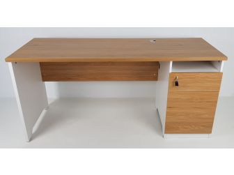 Quality Executive Desk Light Oak With White 1.4 or 1.6m wide JFS1