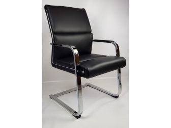 Black Leather Chrome Frame Executive Visitor Chair - HB-1817C
