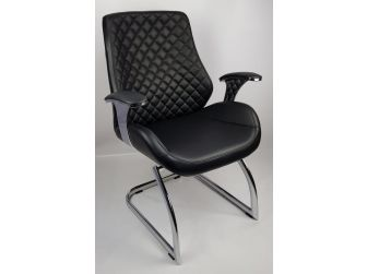 Black Leather Executive Visitors Chair - J1107C