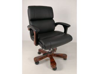 Luxury Executive Style Office Chair in Black Leather - B018