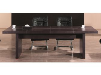 Dark Brown Leather Faced Conference Table - 2400mm - C1233