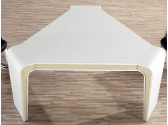 Gloss White Meeting Table with Beige Trimming - C1281