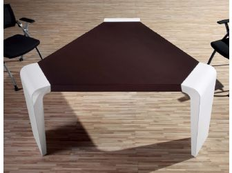 Meeting Table Dark Brown Leather Top with White Gloss Sides - C1381