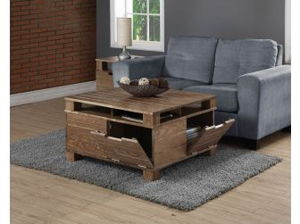 Vintage Rustic Solid Oak Veneer Coffee Table - SW202
