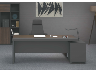 Quality Executive Desk Walnut with Grey Powder Coated Steel Leg ZG1816