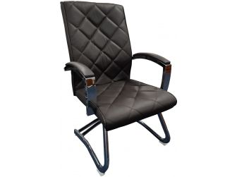 Brown Leather Stylish Cantilever Visitors Chair - ZV-B217