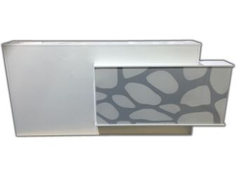 Large 2.7m Light Up White Gloss Reception Desk - HA201