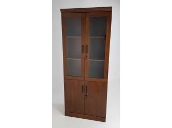 Real Wood Veneer Two Door Executive Bookcase in Walnut - 1861A