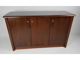 Real Wood Veneer Three Door Executive Walnut Cupboard - 6846T