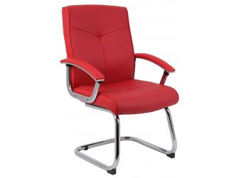 Red Leather Faced Visitor Chair HOXTON-VISITOR