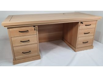 Quality Light Oak Twin Pedestal Executive Office Desk - HSN009