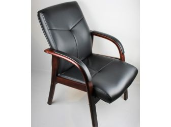 Senato DES-CHA-524 Visitor Chair Black Leather with Walnut or Mahogany Arms