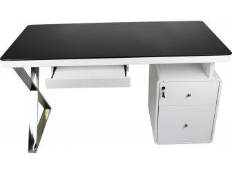 Aquila MT702 Contemporary Home Office Desk in Gloss White 1400mm Wide