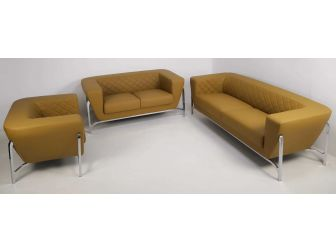 Modern Beige Leather Executive Sofa's with Chrome Frame - SF-132