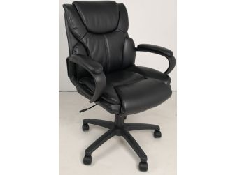 Soft Padded Low Back Executive Office Chair in Black Leather - CHA-CS2121C